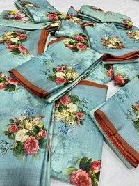 PURE Jacquard Linen fabrics saree