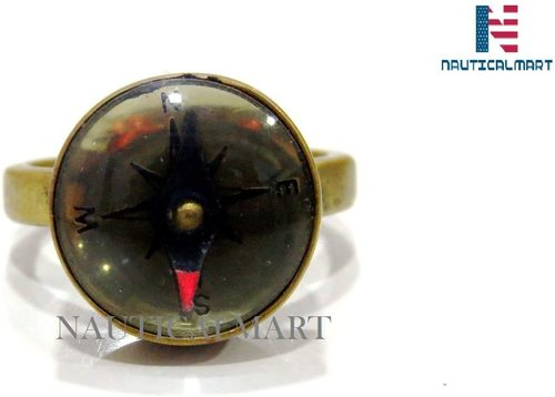 Brass Compass Ring, Glass Dome Ring, Nautical Gift for Men for Women