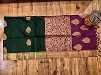 Silk Cotton Butta Saree Bottle Green With Violet Combination