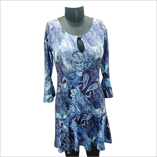 Blue Digitally Printed Ladies Dress