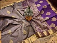 Silk Cotton Butta Saree Grey With Purple Combination