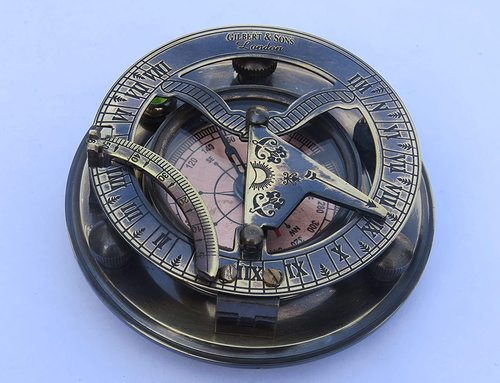 NauticalMart Steampunk for Solid Brass Sundial Compass with Wooden Box