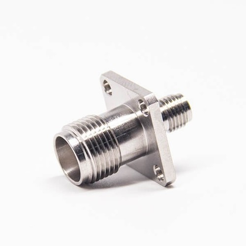 TNC To SMA Connector Female To Female 4 Hole Flange Stainless Steel