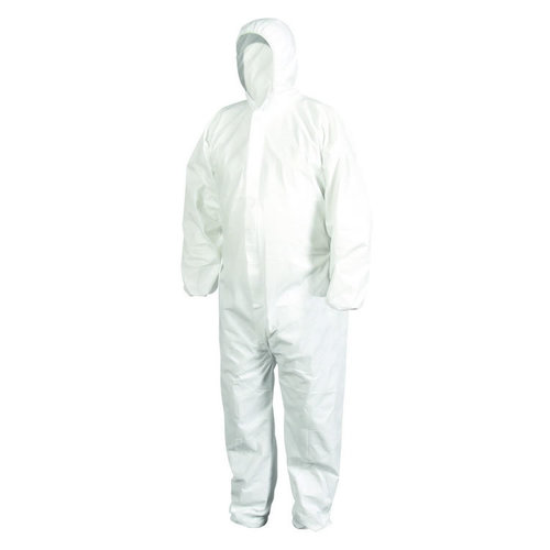 White Cleaning Hooded Polypropylene Nonwoven PP Non Woven SMS Microporous PPE Gown Protection Clothing Disposable Coverall