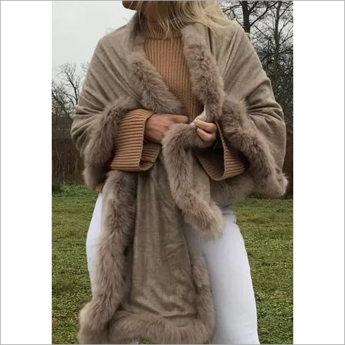 Cashmere 4 side Reversible fur shawls, Size-70x200cm