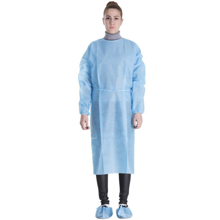 Long Sleeve Disposable Medical Surgical PP Nonwoven Isolation Gown