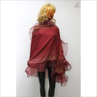 Cashmere Frill Crystal  Stole , Size-70x200cm