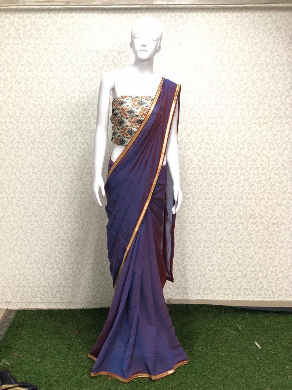 plain silk saree