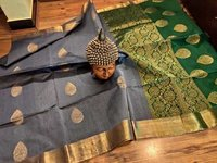 silk cotton saree grey with green combination