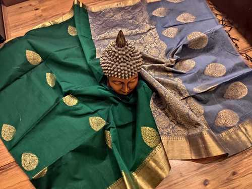 Silk Cotton Saree Green With Grey Combination