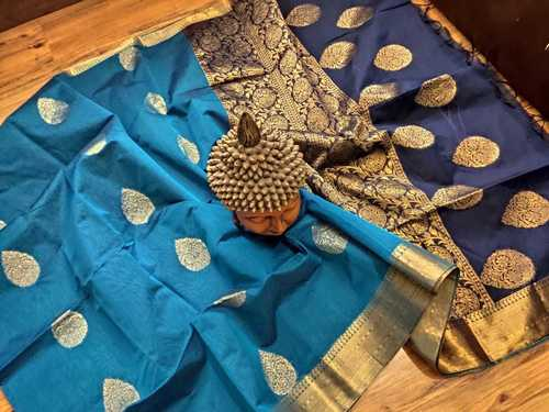 Silk Cotton Sky Blue With Dark Blue Combination