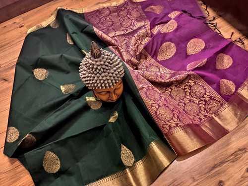 Silk Cotton Green With Purple