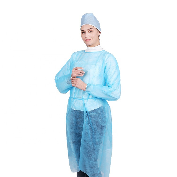 Disposable Isolation PP Nonwoven Gown With Elastic Cuffs