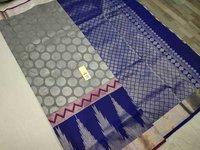 pure silk saree all self grey with blue