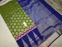 Pure Silk Saree Green With Blue