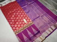 Pure Silk All Self Saree Pink With Violet Combination