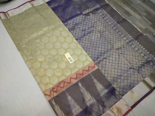 Pure Silk Saree Half White With Blue