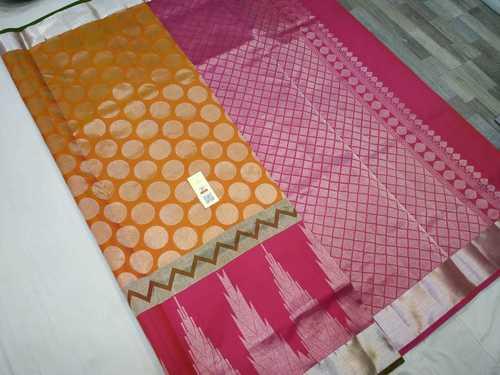 pure silk bridal saree orange with pink