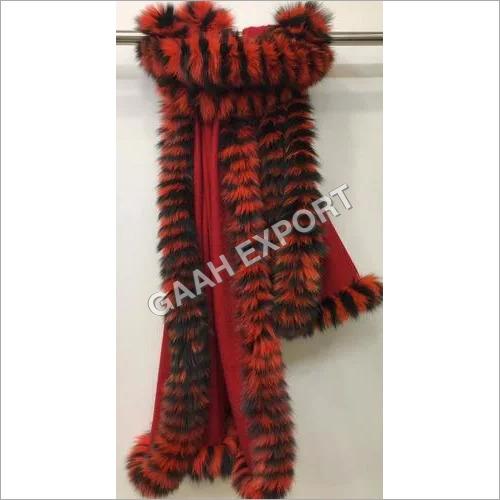 Pashmina Multi color 4 Side fur Stole , SIze-70x200cm