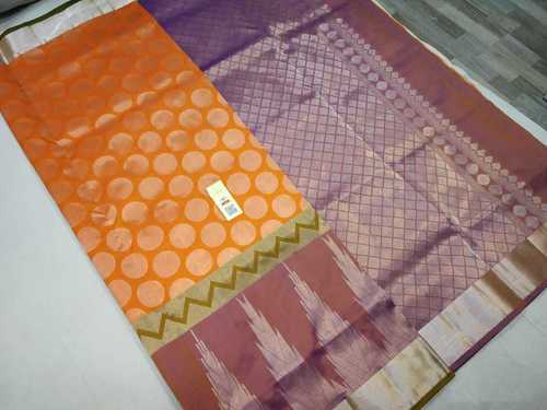 Pure Silk Saree Yellow With Blue