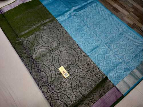 pure silk bridal  saree dark grey with sky blue combination