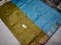 pure silk saree green with sky blue