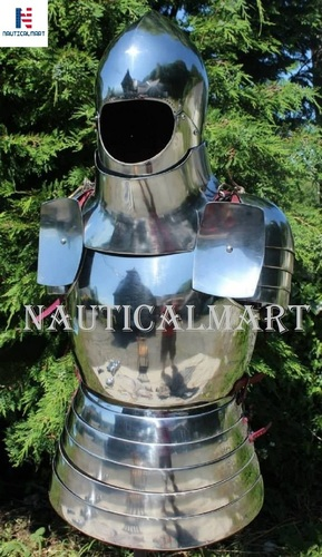 NAUTICALMART Medieval Steel Breastplate Pauldrons with Armor Helmet Wearable Costume