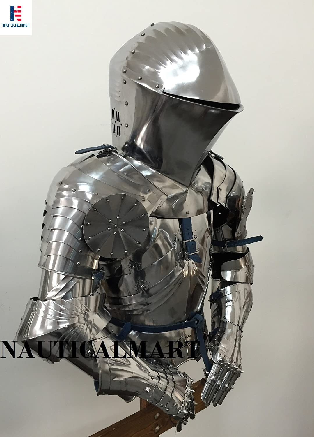 NAUTICALMART Medieval Knight Breastplate Suit of Armour Adult Medieval Costume Helmet