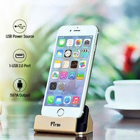pTron Cradle iOS Charging & Data Sync Dock Stand for iPhones (Gold)