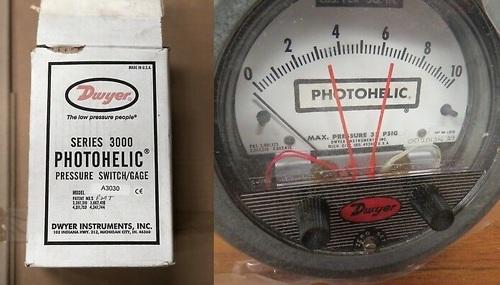 Dwyer A3030 Photohelic Pressure Switch Gauge Range 0-30 Inch w.c.