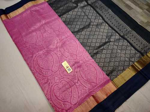 Pure Silk Bridal Saree Pink With Black