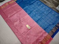 Pure Silk Bridal Saree Pink With Blue Combination