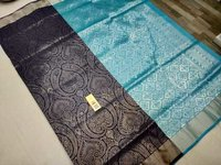 Pure Silk Bridal Saree Dark Grey With Blue
