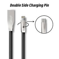 pTron Dual 2 in 1 Charging USB Cable for Micro USB & iOS Smartphones