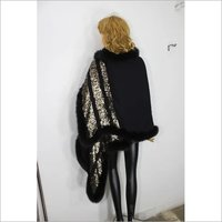 Silk Wool Sequence With 4 side fur Stole , Size-70x200cm