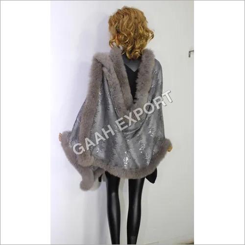 Designer Sequenced 4 side fur shawls  size-70x200cm