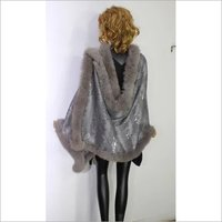 Designer Sequenced 4 side fur shawls  size-70x200cm