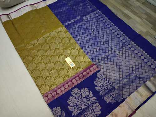 Pure Silk Bridal Saree Green With Blue