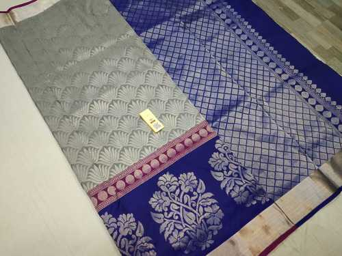 Pure Silk Bridal Saree Grey With Blue