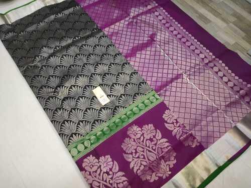 Pura Silk All Self Saree Black With Violet