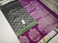 pura silk all self saree black with violet