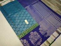 pure silk all self saree sky blue with blue