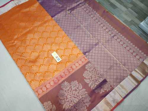 pure silk all self saree orange with pink