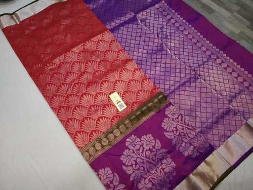 pure silk all self saree red with purple