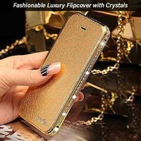 pTron Swarovski Crystal Metal Frame Bumper Flip Cover for iPhone 6