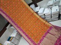 banarasi saree orange with pink