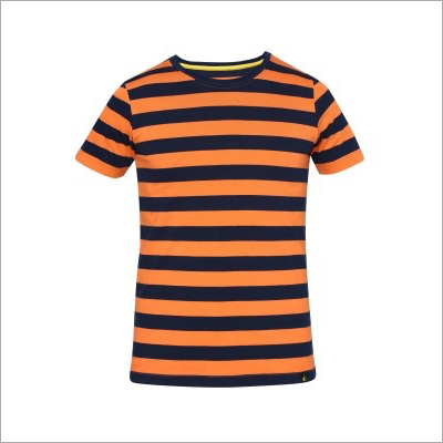 Mens Round Neck Striped T-Shirts