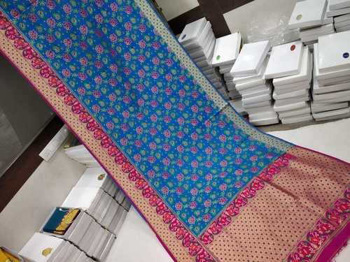 Banarasi Saree Sky Blue With Pink and Gold Combination