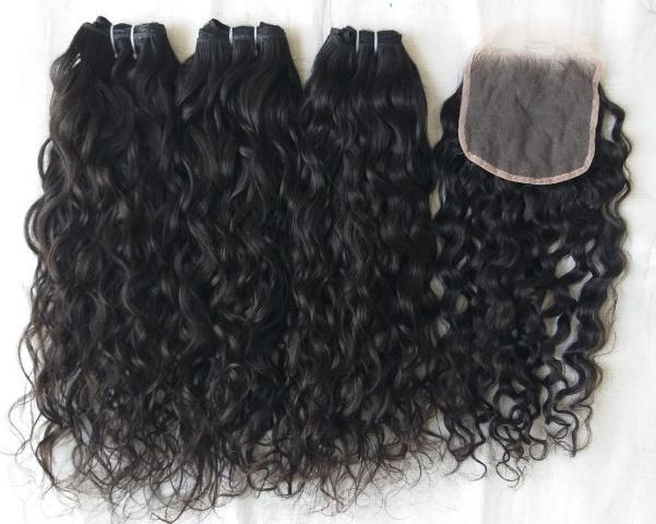 Natural Curly Human Hair and closure 4x4