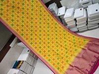 Banarasi  Saree Yellow With Pink Combination